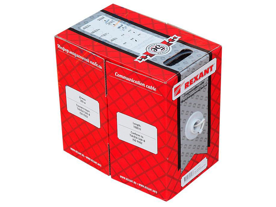 REXANT кабель витая пара UTP cat.5e 4 пары 24AWG Cu 305м (артикул: 01-0043)