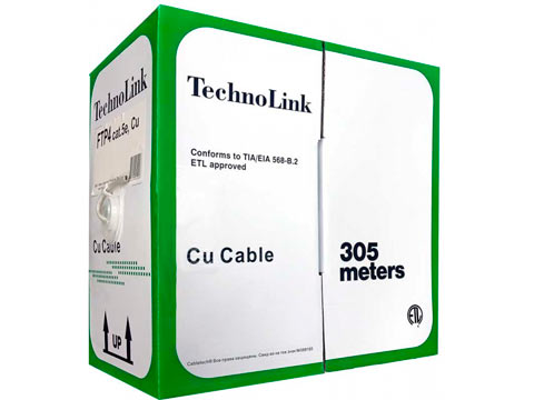 Кабель Technolink FTP4 cat.5е, одножильный / экранированный / 305м / Cu