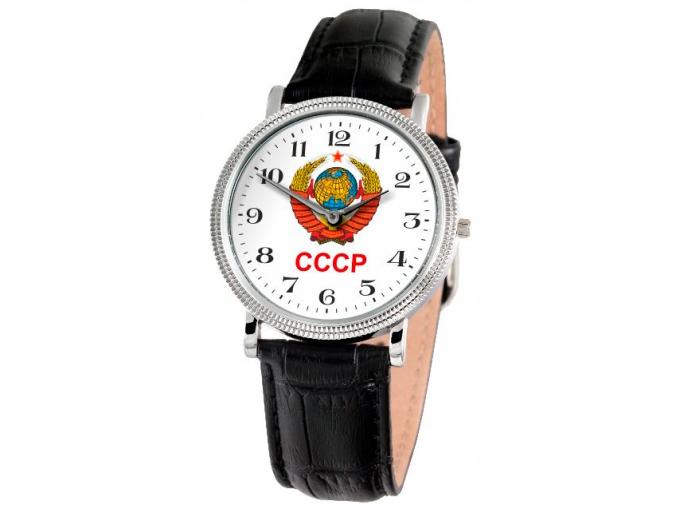 Часы Слава серебристые с гербом СССР