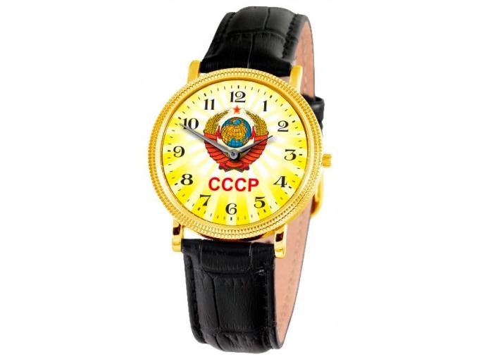 Часы Слава золотистые с гербом СССР